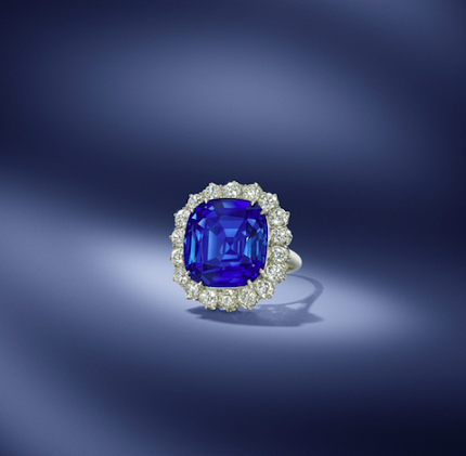 A magnificent 17.43 Carat Kashmir Sapphire ring. Sold for £723,062 ($53,956 price per carat).