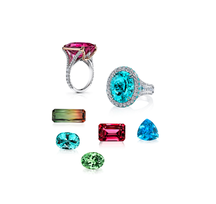The rings shown on the cover of the Spring 2019 Gems & Gemology journal feature a 15.16 ct pink cushion-cut tourmaline (left) and a 10.23 ct oval cuprian elbaite (right). The loose tourmalines (left to right) are a 75.25 ct bicolor emerald cut from Mozambique, a 4.61 ct cuprian elbaite oval from Mozambique, an 8.64 ct green oval from Namibia, a 24.60 ct pink emerald cut from Nigeria, and a 3.20 ct Paraíba tourmaline trillion from Brazil. The rings and loose stones are courtesy of Omi Privé. Photo composite by Kevin Schumacher/GIA.
