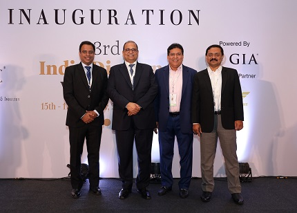 Mr. Pramod Agrawal, Chairman, Mr Sabyasachi Ray, Executive Director and Mr Dilip Shah, Convener, International Exhibitions, all from The Gem and Jewellery Export Promotion Council (GJEPC) at the Inaugural ceremony of the India Diamond Week organised between 15 – 17 October 2019, at Renaissance Hotel Powai in Mumbai.